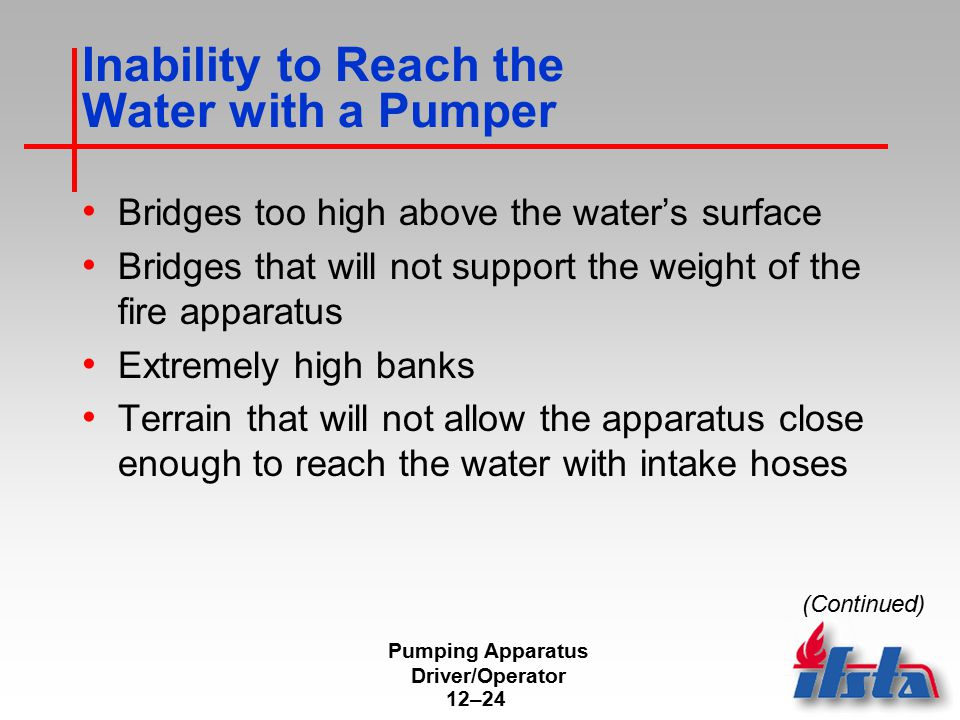 Inability to Reach the Water with a Pumper
