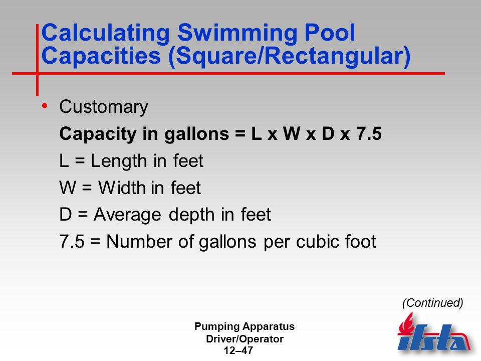 Calculating Swimming Pool Capacities (Square/Rectangular)