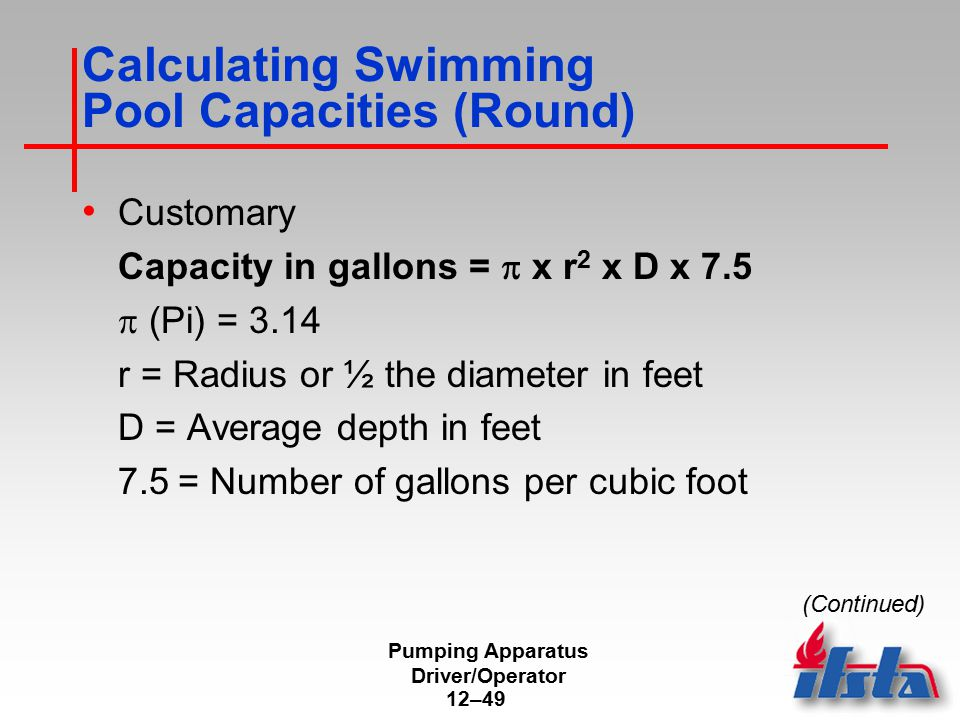 Calculating Swimming Pool Capacities (Round)