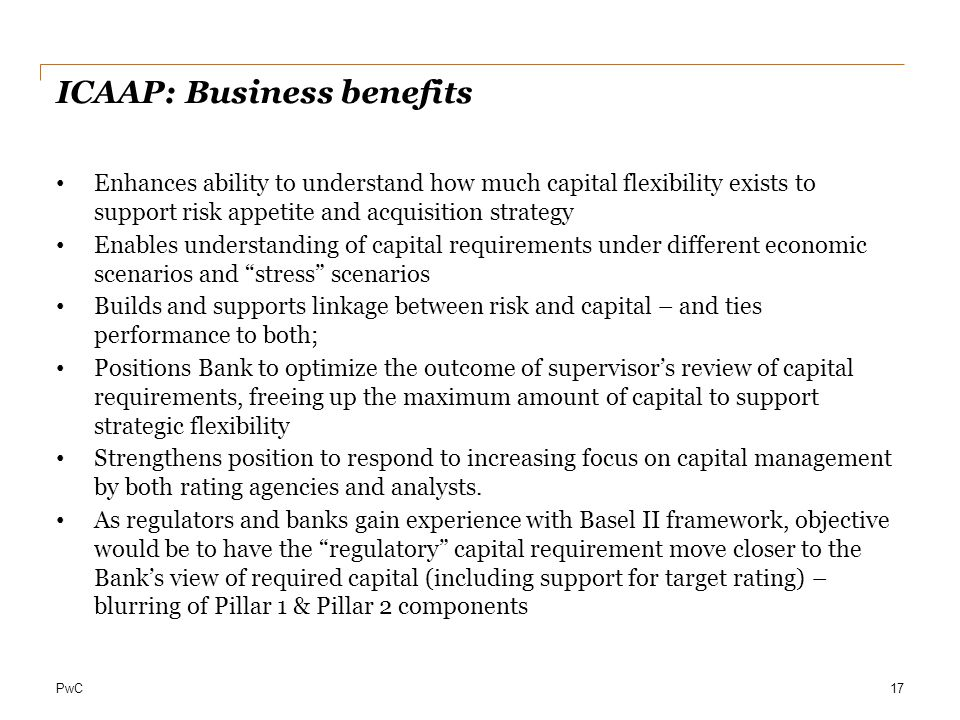 ICAAP: Business benefits