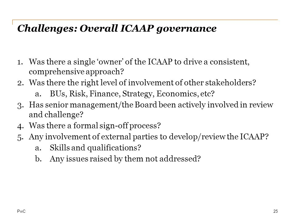 Challenges: Overall ICAAP governance