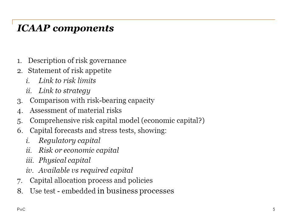 ICAAP components Description of risk governance