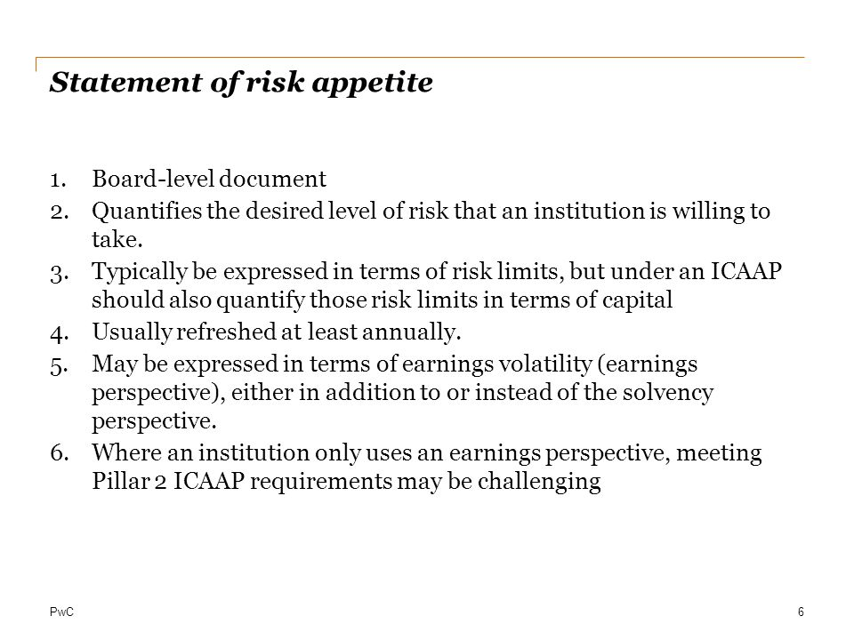 Statement of risk appetite