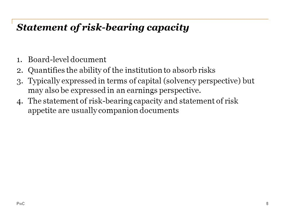 Statement of risk-bearing capacity