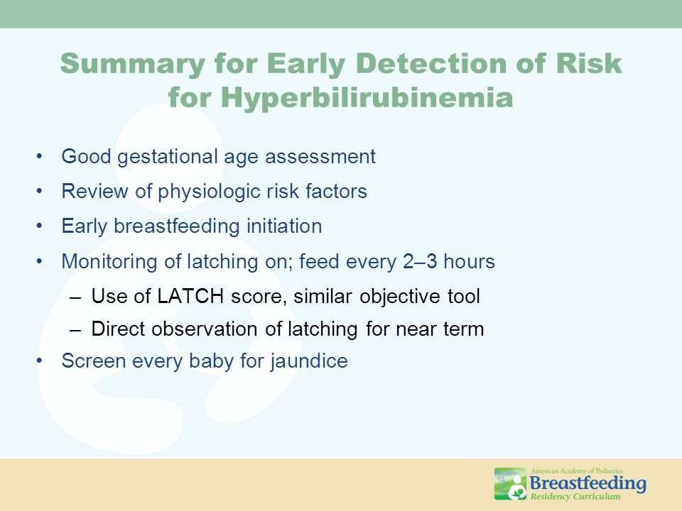 Summary for Early Detection of Risk for Hyperbilirubinemia