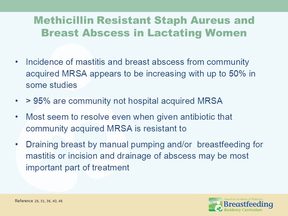 Methicillin Resistant Staph Aureus and Breast Abscess in Lactating Women