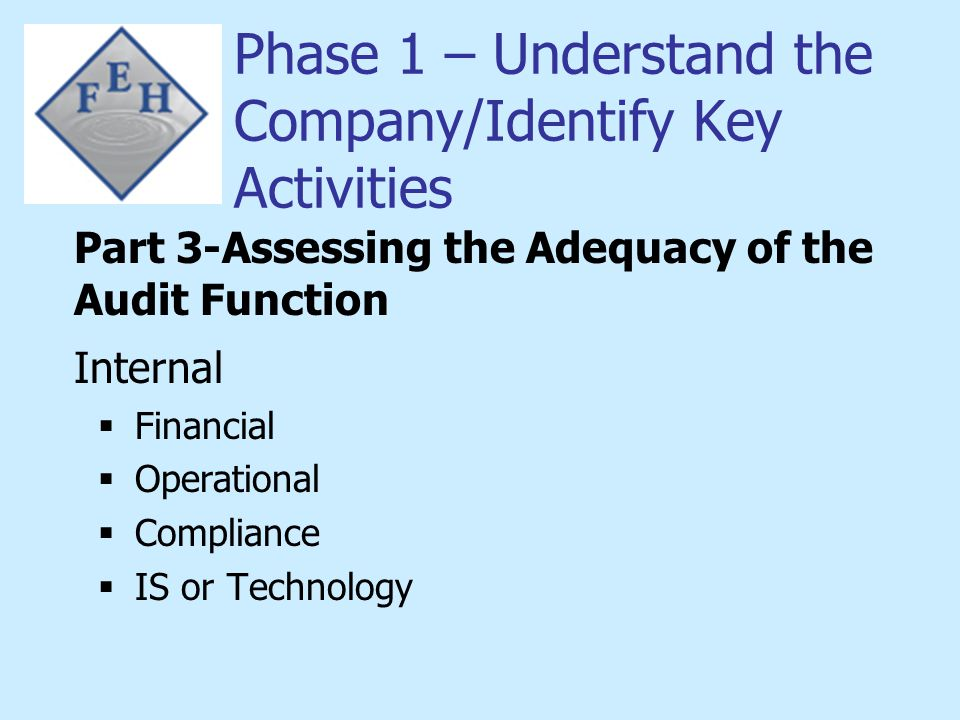 Phase 1 – Understand the Company/Identify Key Activities