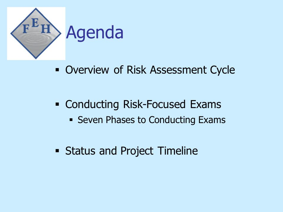 Agenda Overview of Risk Assessment Cycle Conducting Risk-Focused Exams