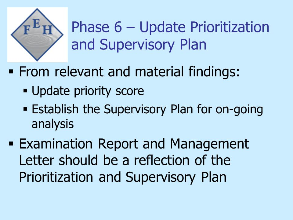 Phase 6 – Update Prioritization and Supervisory Plan