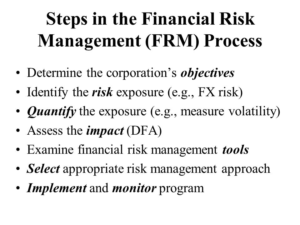 Steps in the Financial Risk Management (FRM) Process