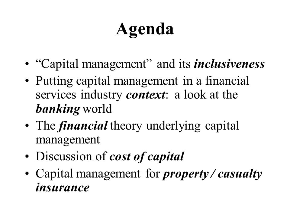 Agenda Capital management and its inclusiveness