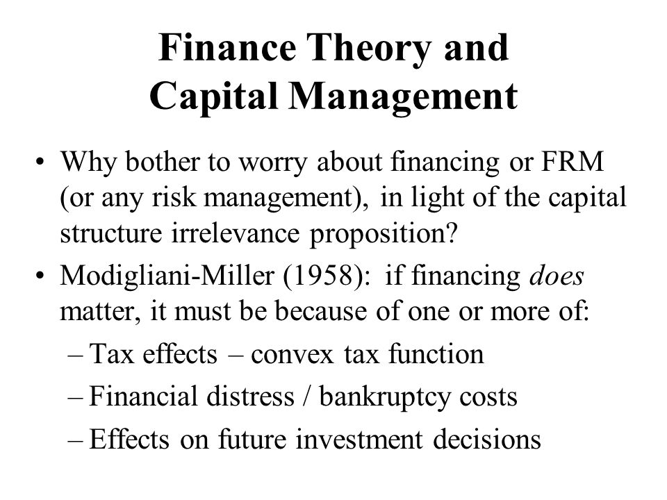 Finance Theory and Capital Management