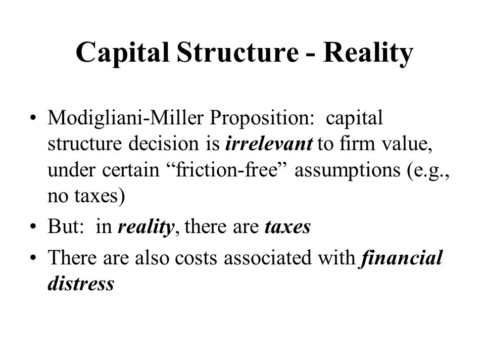Capital Structure - Reality