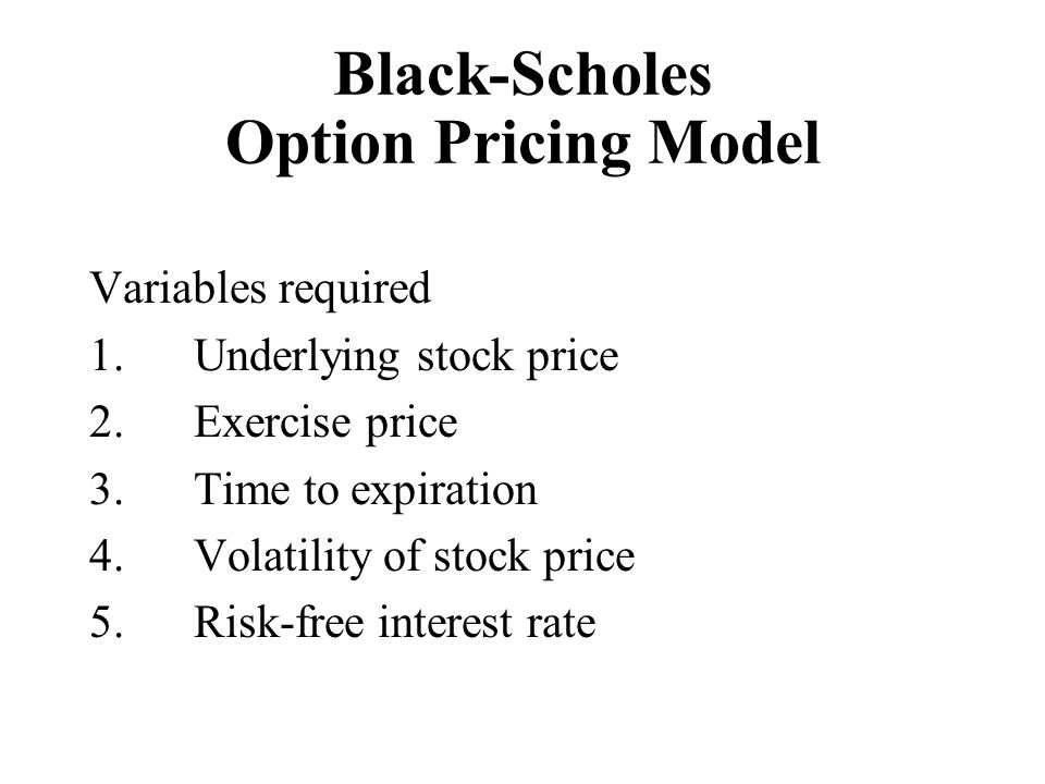 Black-Scholes Option Pricing Model