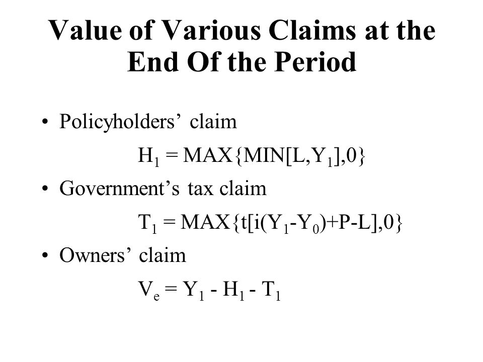 Value of Various Claims at the End Of the Period