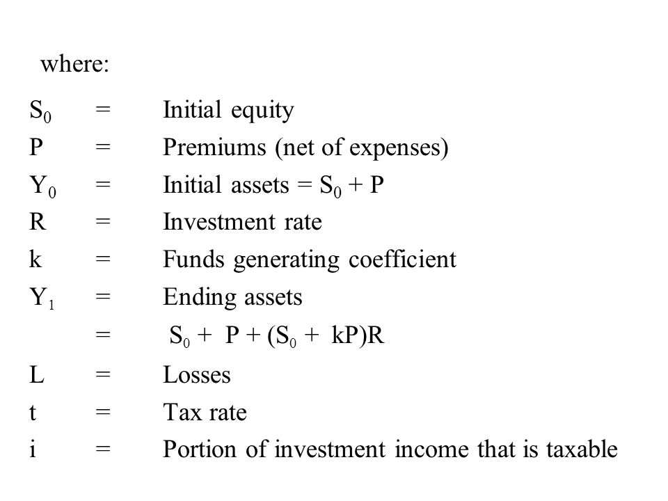 where: S0 = Initial equity. P = Premiums (net of expenses) Y0 = Initial assets = S0 + P. R = Investment rate.