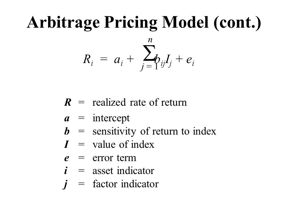 Arbitrage Pricing Model (cont.)