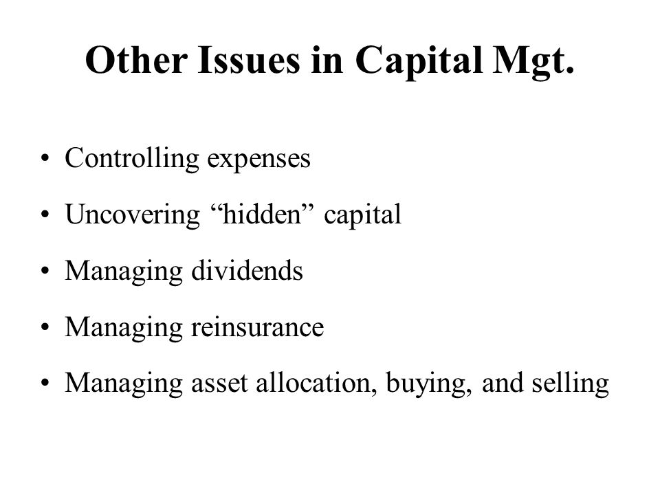 Other Issues in Capital Mgt.