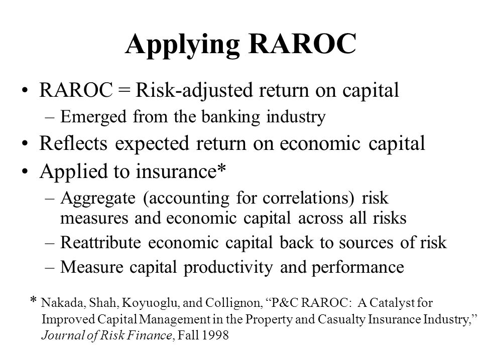 Applying RAROC RAROC = Risk-adjusted return on capital
