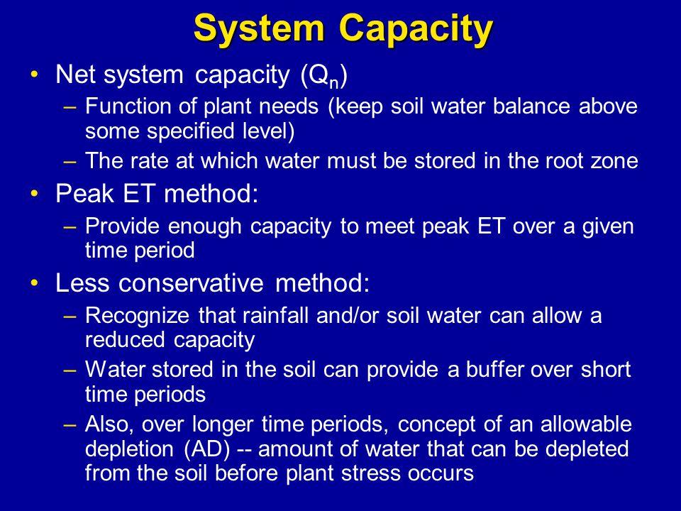 System Capacity Net system capacity (Qn) Peak ET method: