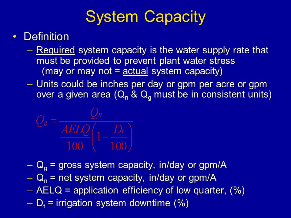 System Capacity Definition