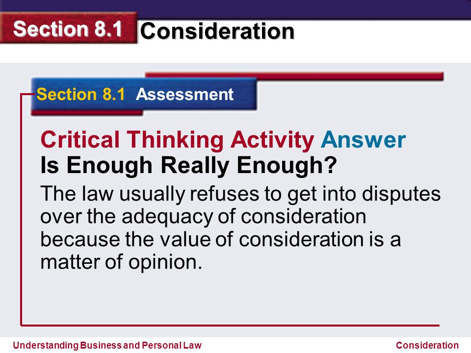 Critical Thinking Activity Answer Is Enough Really Enough