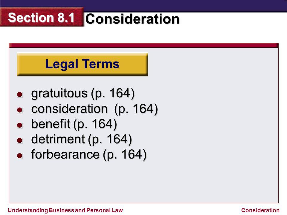 Legal Terms gratuitous (p. 164) consideration (p.