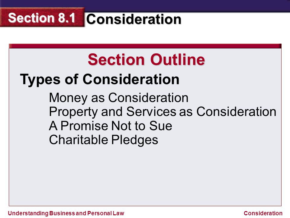 Section Outline Types of Consideration Money as Consideration