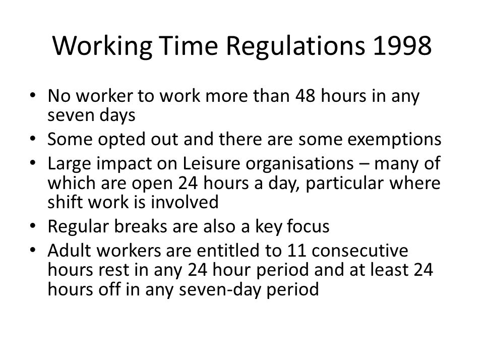 Working Time Regulations 1998