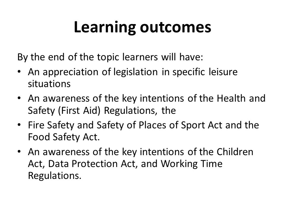 Learning outcomes By the end of the topic learners will have: