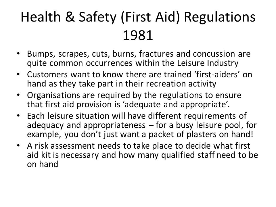 Health & Safety (First Aid) Regulations 1981
