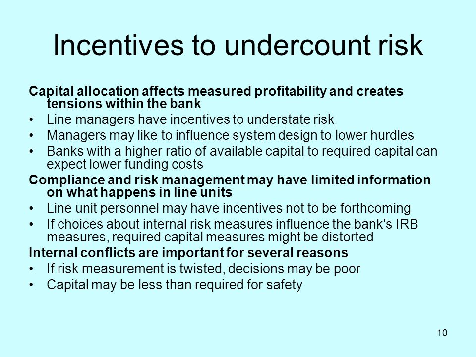 Incentives to undercount risk