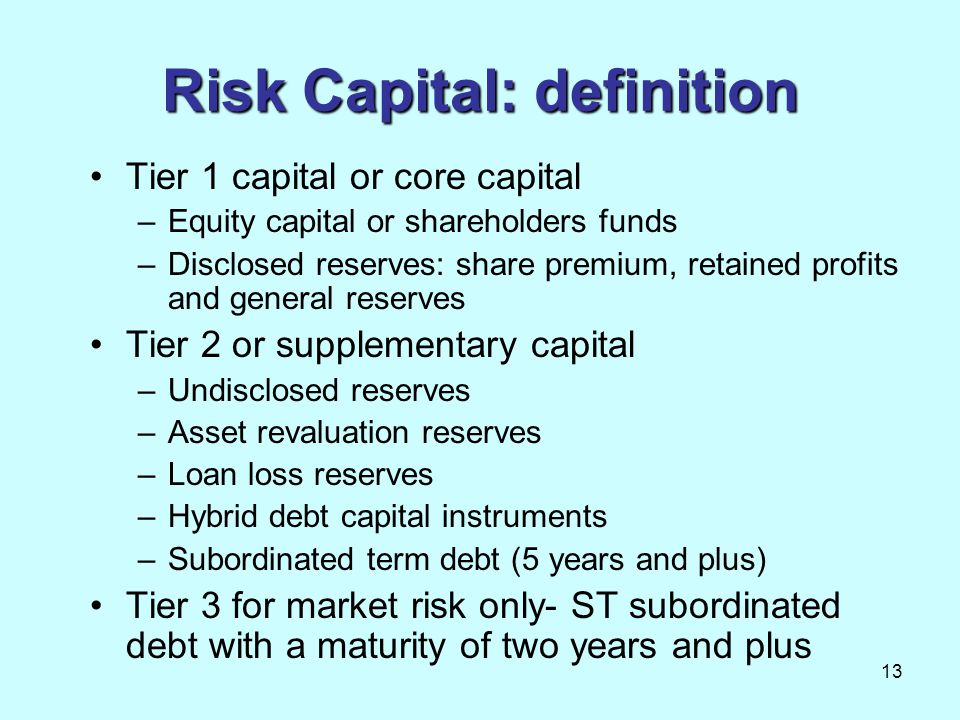 Risk Capital: definition