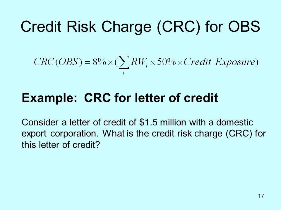 Credit Risk Charge (CRC) for OBS