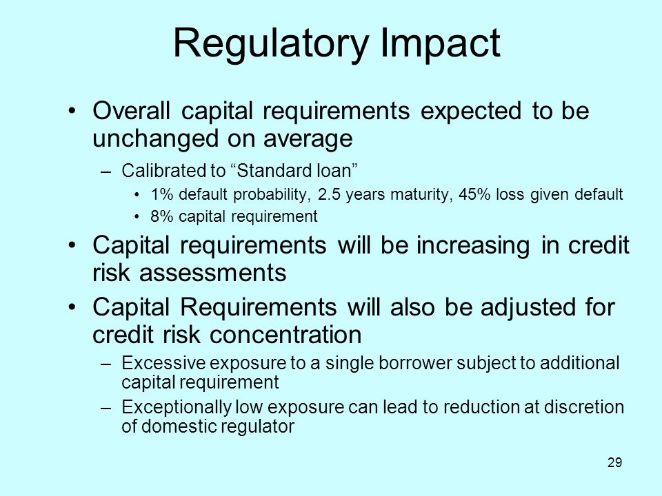 Regulatory Impact Overall capital requirements expected to be unchanged on average. Calibrated to Standard loan
