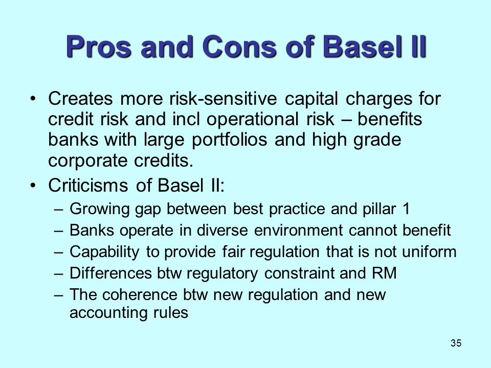Pros and Cons of Basel II