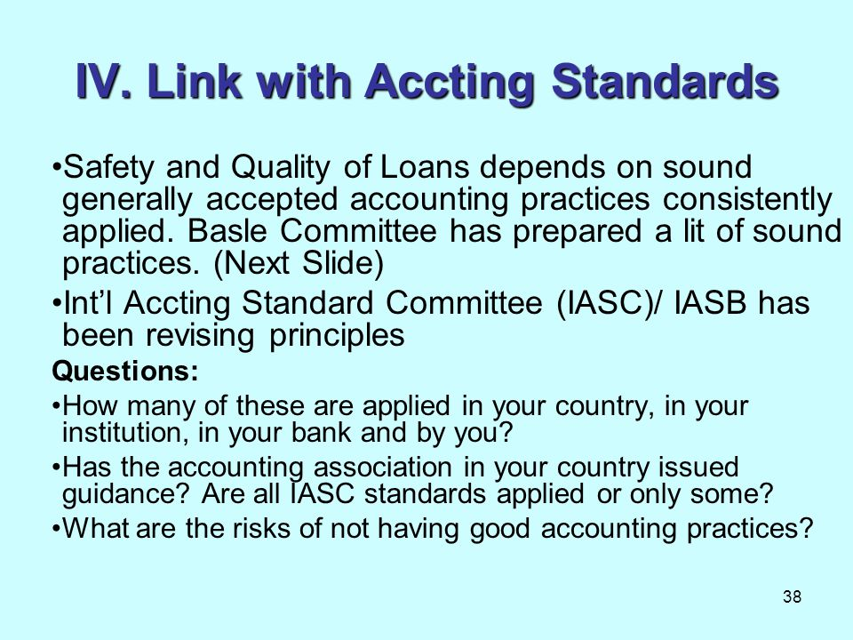 IV. Link with Accting Standards
