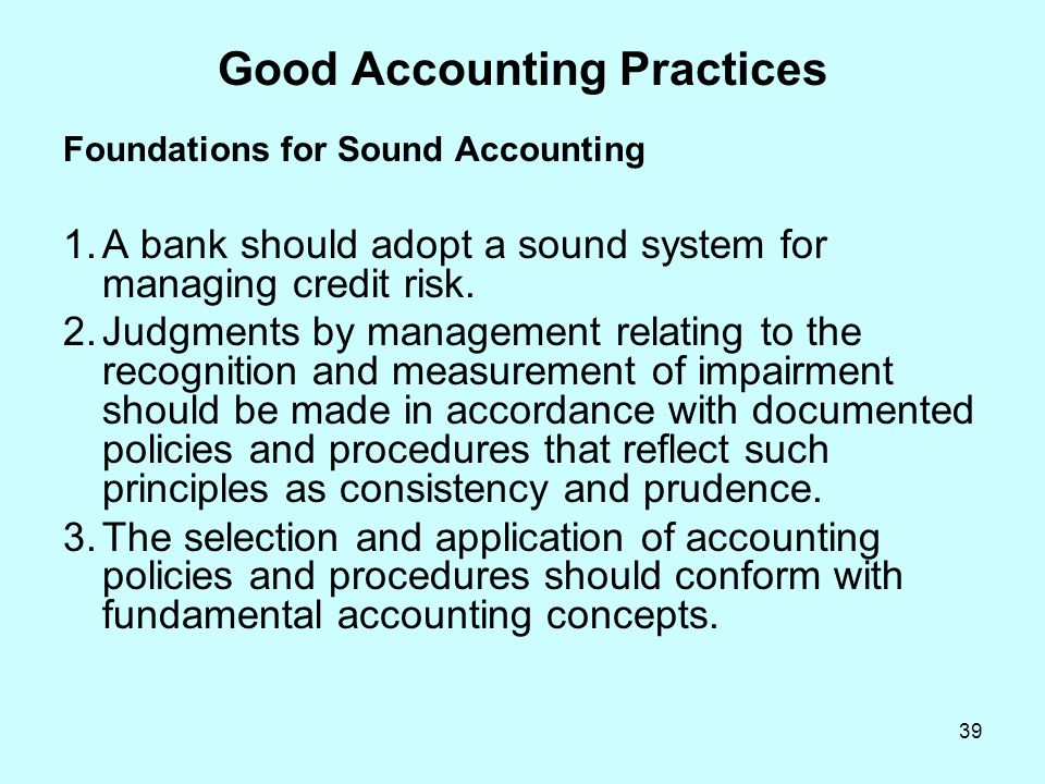 Good Accounting Practices