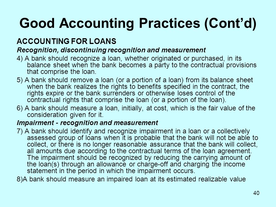 Good Accounting Practices (Cont'd)