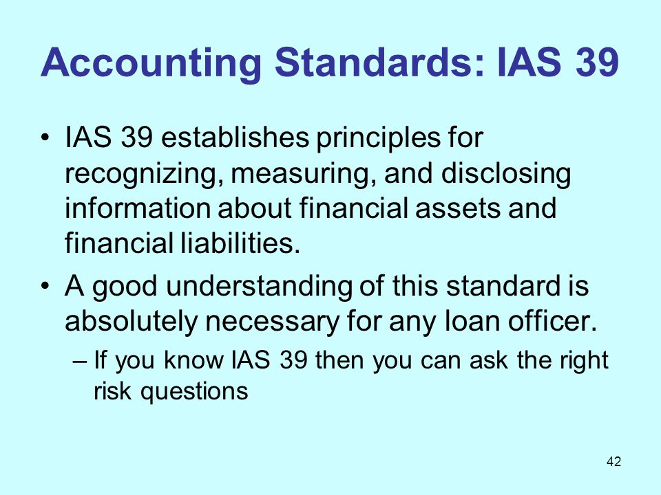Accounting Standards: IAS 39