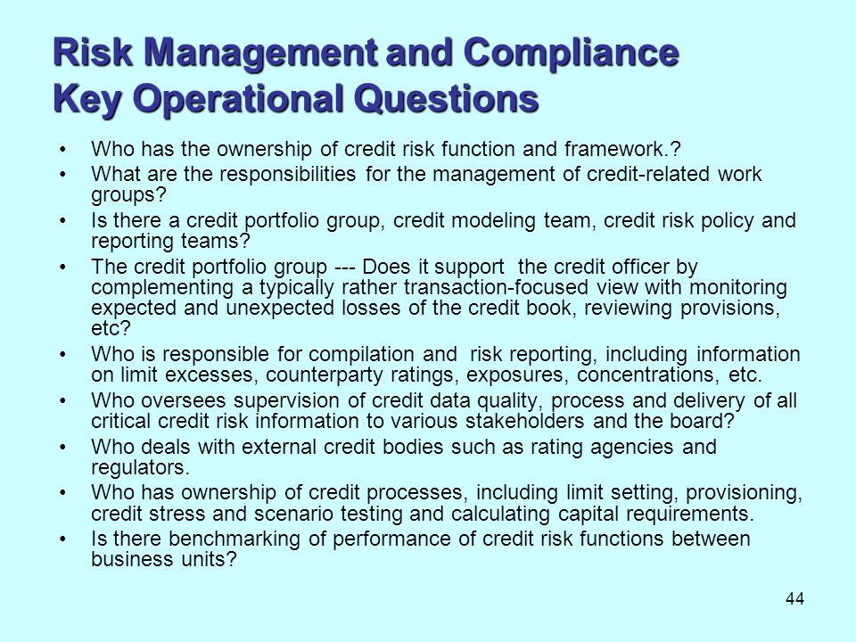 Risk Management and Compliance Key Operational Questions