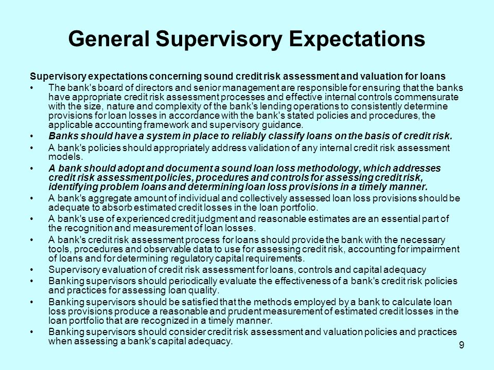 General Supervisory Expectations