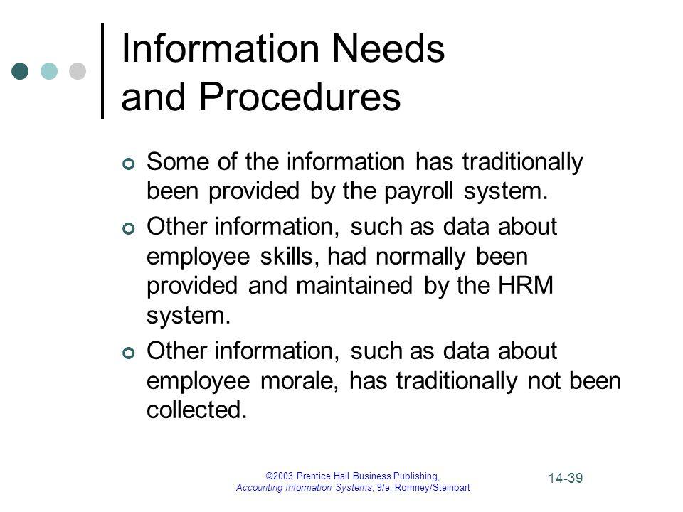 Information Needs and Procedures