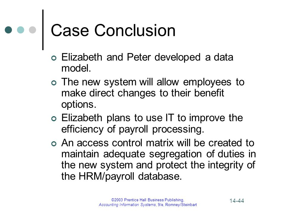 Case Conclusion Elizabeth and Peter developed a data model.