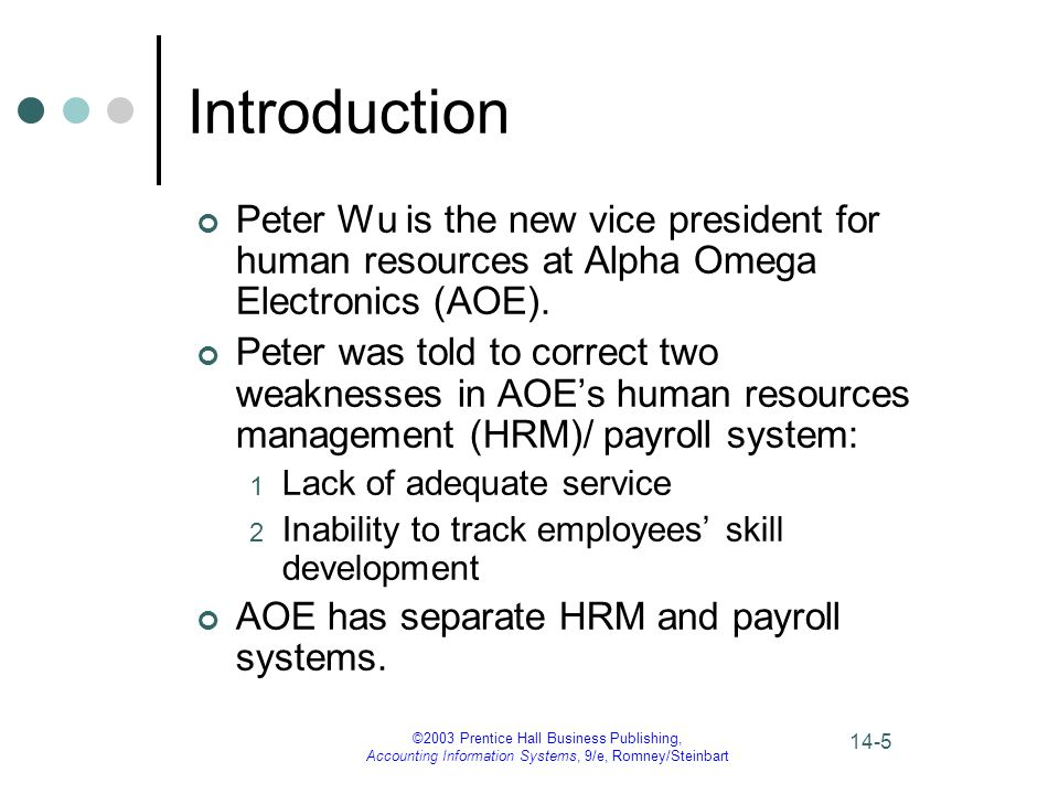 Introduction Peter Wu is the new vice president for human resources at Alpha Omega Electronics (AOE).