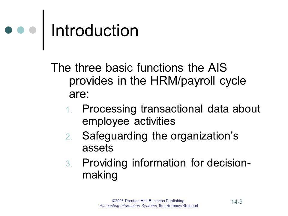 Introduction The three basic functions the AIS provides in the HRM/payroll cycle are: Processing transactional data about employee activities.