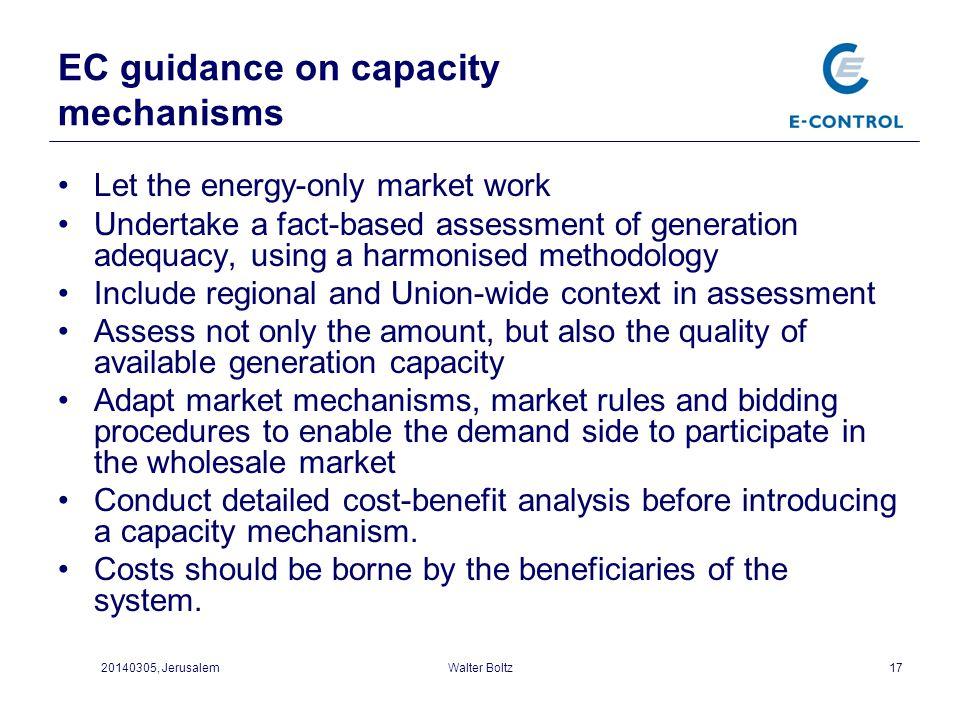 EC guidance on capacity mechanisms
