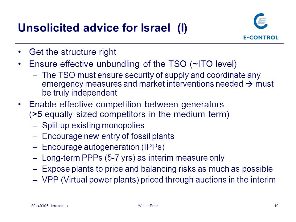 Unsolicited advice for Israel (I)