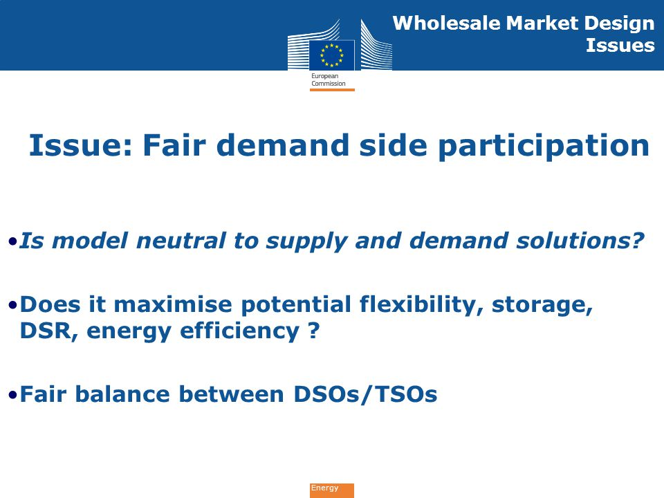 Issue: Fair demand side participation