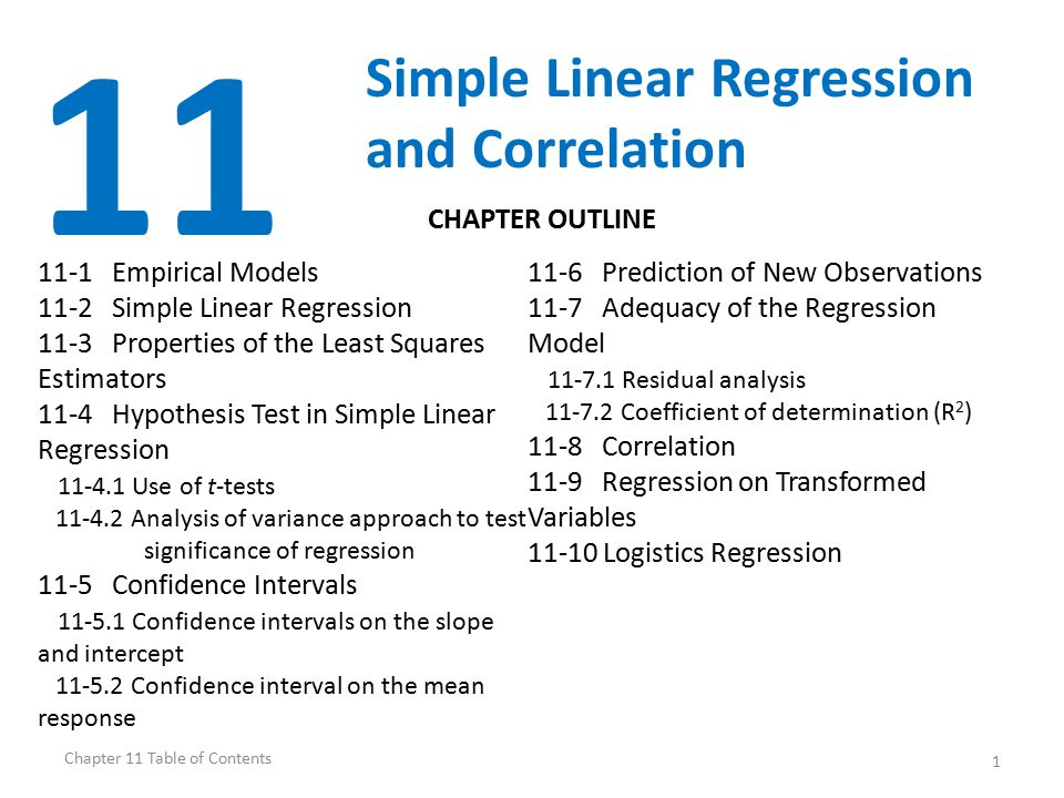 11 Simple Linear Regression and Correlation CHAPTER OUTLINE